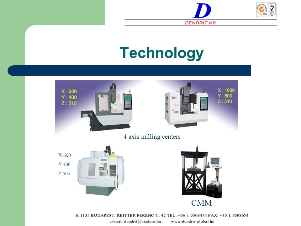Technology X:600 Y:400 Z:500 4 axis milling centers CMM