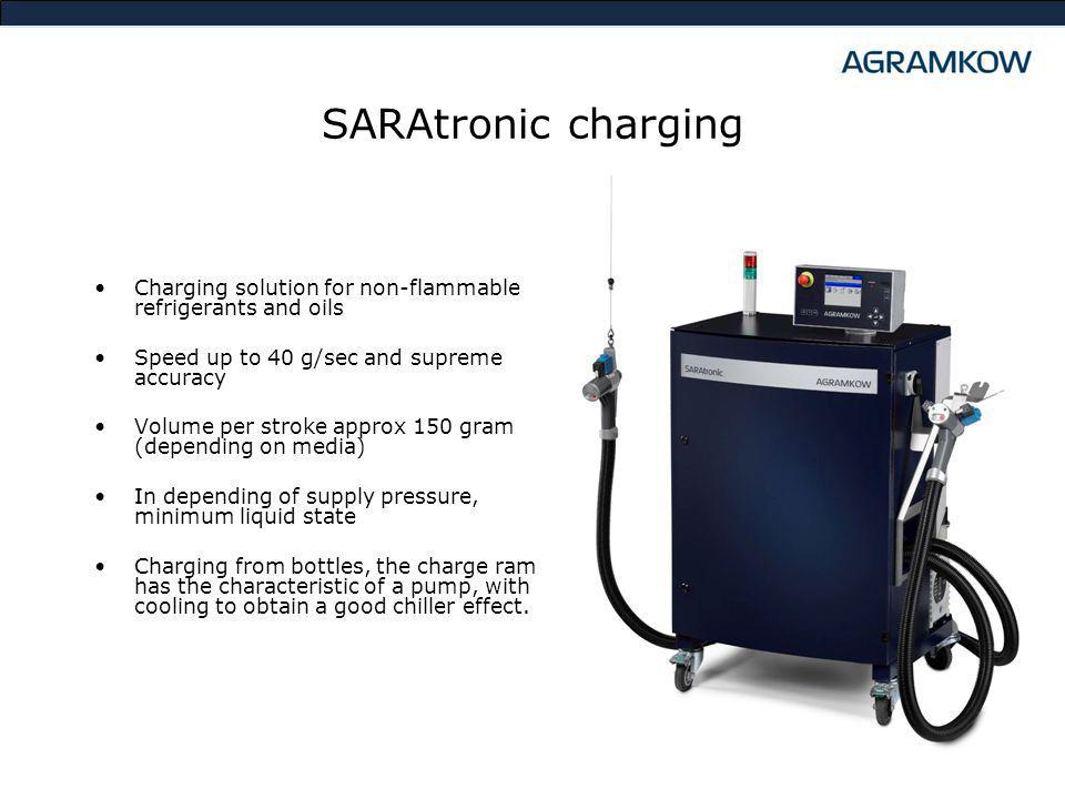SARAtronic charging Charging solution for non-flammable refrigerants and oils Speed up to 40 g/sec and supreme accuracy Volume per stroke approx 150 gram (depending on media) In depending of supply pressure, minimum liquid state Charging from bottles, the charge ram has the characteristic of a pump, with cooling to obtain a good chiller effect.