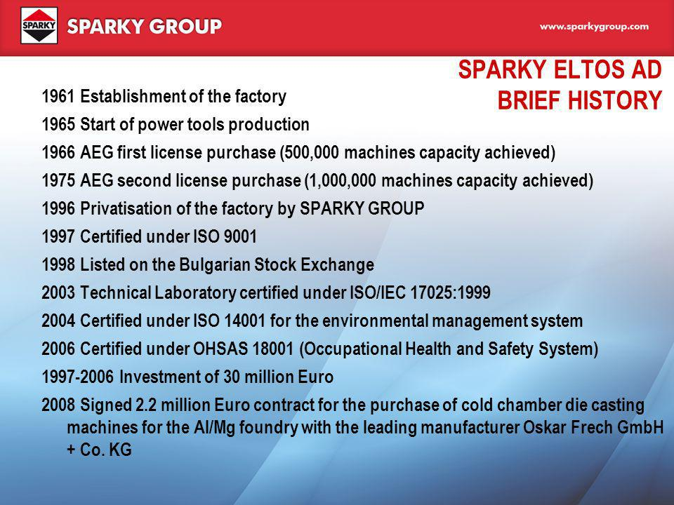 SPARKY ELTOS AD BRIEF HISTORY 1961 Establishment of the factory 1965 Start of power tools production 1966 AEG first license purchase (500,000 machines