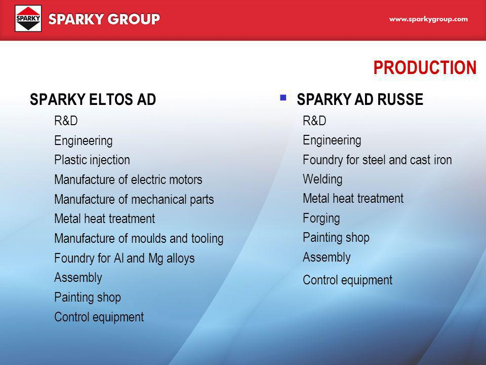 WHO ARE WE The brand name SPARKY The Markets EU countries, Eastern Europe, Middle East, Russia and CIS The Team Highly educated, well-trained staff with long experience in industrial production Continuous training and professional education