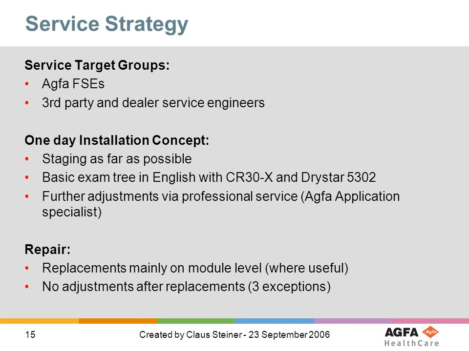 15Created by Claus Steiner - 23 September 2006 Service Strategy Service Target Groups: Agfa FSEs 3rd party and dealer service engineers One day Installation Concept: Staging as far as possible Basic exam tree in English with CR30-X and Drystar 5302 Further adjustments via professional service (Agfa Application specialist) Repair: Replacements mainly on module level (where useful) No adjustments after replacements (3 exceptions)