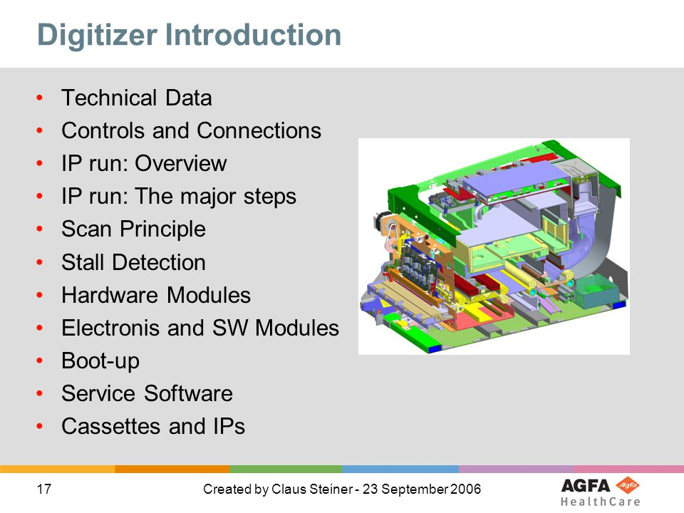 17Created by Claus Steiner - 23 September 2006 Digitizer Introduction Technical Data Controls and Connections IP run: Overview IP run: The major steps Scan Principle Stall Detection Hardware Modules Electronis and SW Modules Boot-up Service Software Cassettes and IPs