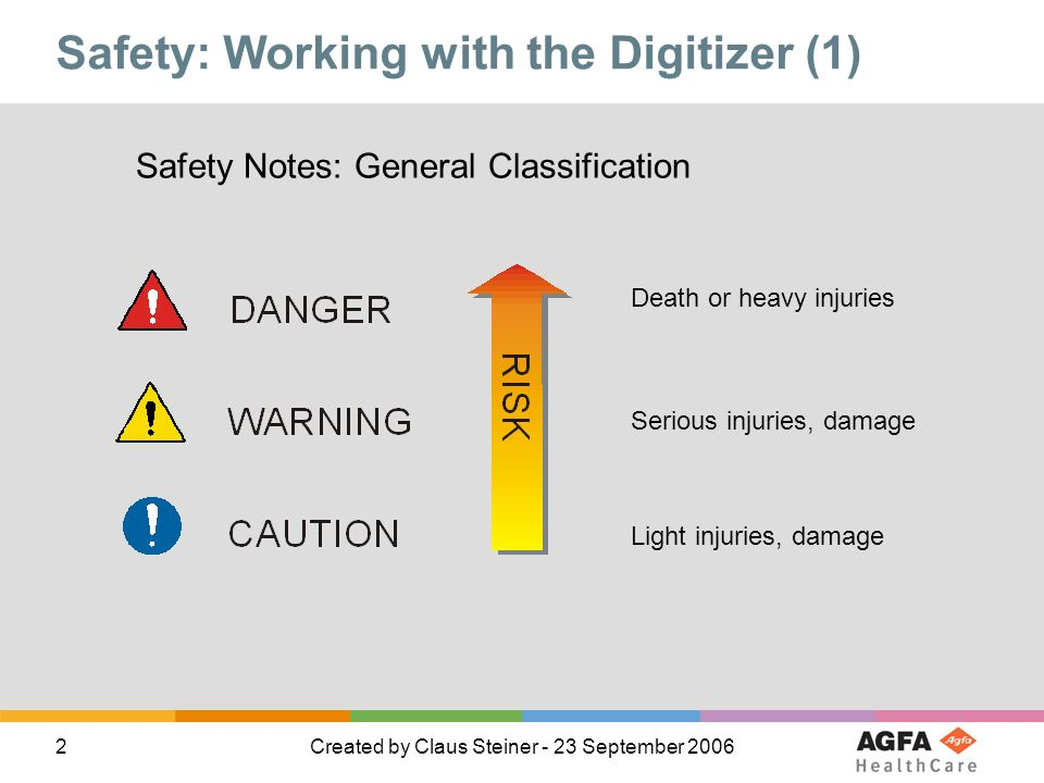 2Created by Claus Steiner - 23 September 2006 Safety: Working with the Digitizer (1) Light injuries, damage Serious injuries, damage Death or heavy injuries Safety Notes: General Classification
