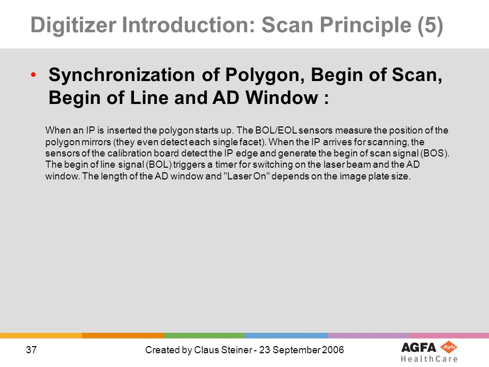 37Created by Claus Steiner - 23 September 2006 Digitizer Introduction: Scan Principle (5) Synchronization of Polygon, Begin of Scan, Begin of Line and AD Window : When an IP is inserted the polygon starts up.