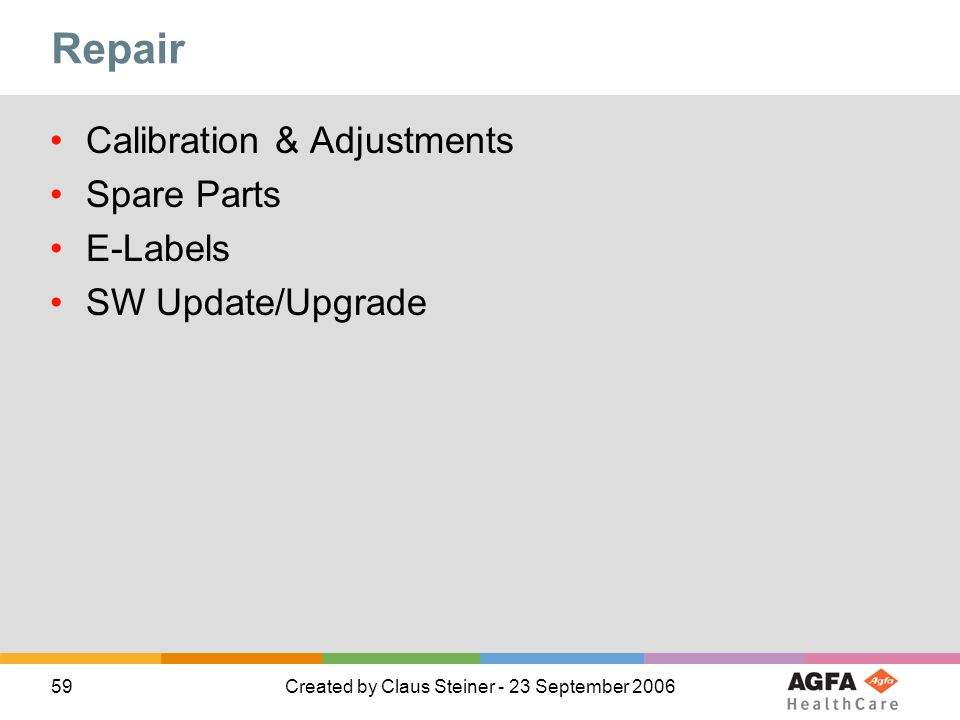 59Created by Claus Steiner - 23 September 2006 Repair Calibration & Adjustments Spare Parts E-Labels SW Update/Upgrade