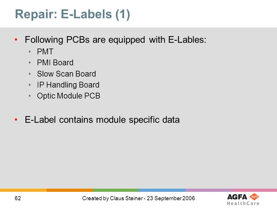 62Created by Claus Steiner - 23 September 2006 Repair: E-Labels (1) Following PCBs are equipped with E-Lables: PMT PMI Board Slow Scan Board IP Handli
