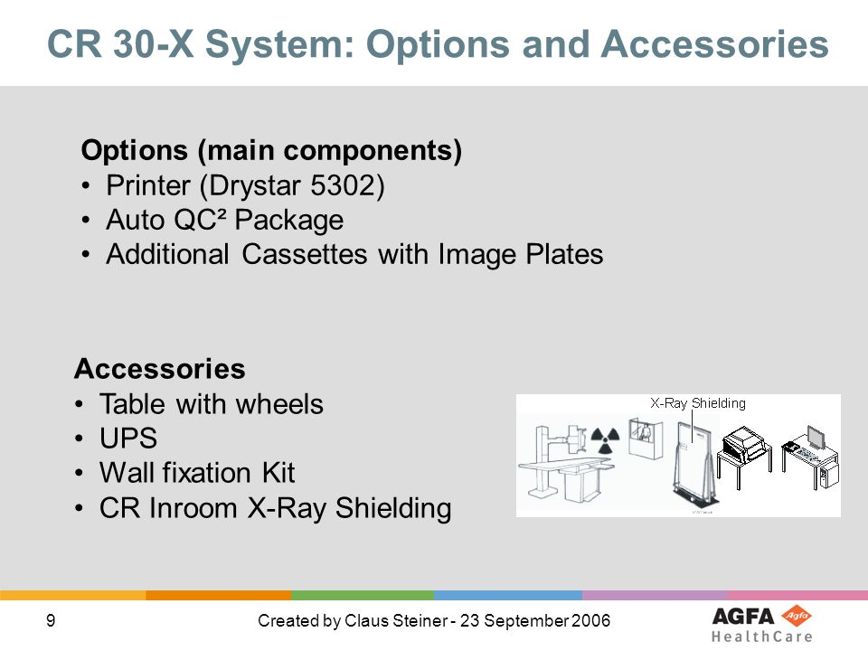 9Created by Claus Steiner - 23 September 2006 CR 30-X System: Options and Accessories Options (main components) Printer (Drystar 5302) Auto QC² Packag