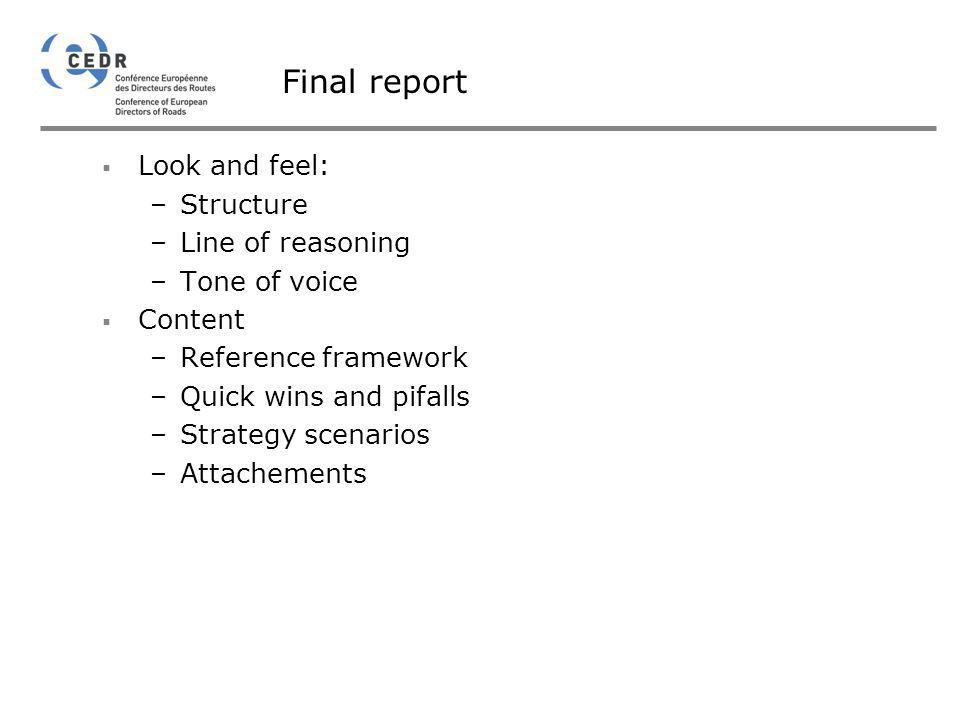 Final report Look and feel: –Structure –Line of reasoning –Tone of voice Content –Reference framework –Quick wins and pifalls –Strategy scenarios –Att