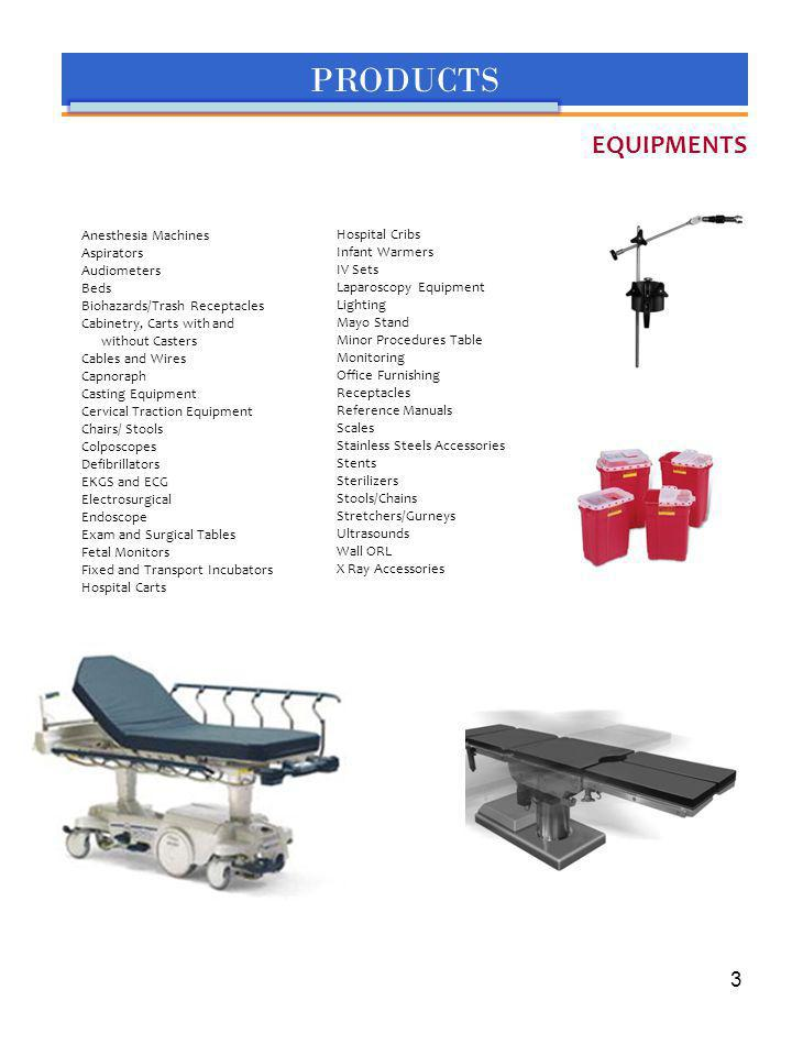 PRODUCTS EQUIPMENTS Anesthesia Machines Aspirators Audiometers Beds Biohazards/Trash Receptacles Cabinetry, Carts with and without Casters Cables and