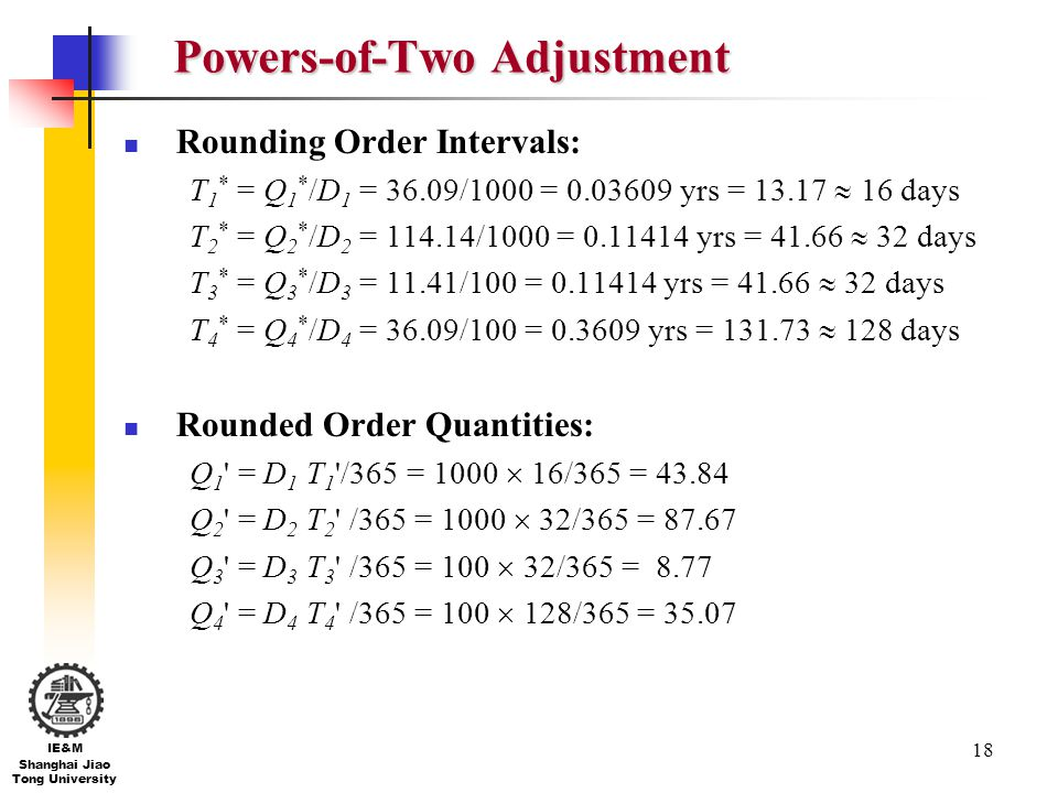 18 IE&M Shanghai Jiao Tong University Powers-of-Two Adjustment Rounding Order Intervals: T 1 * = Q 1 * /D 1 = 36.09/1000 = 0.03609 yrs = 13.17 16 days