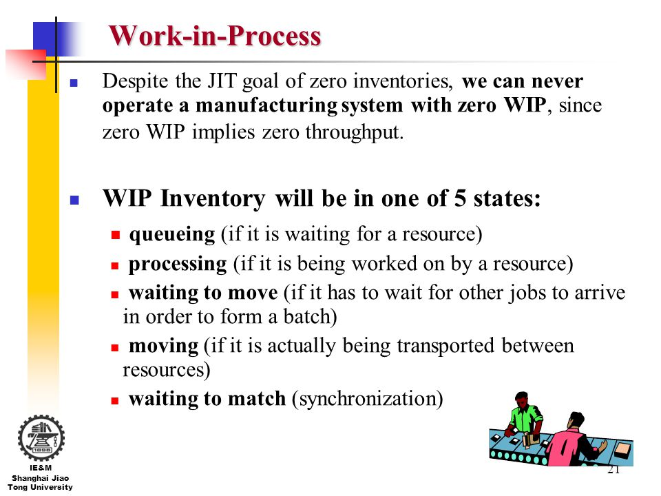 21 IE&M Shanghai Jiao Tong University Work-in-Process Despite the JIT goal of zero inventories, we can never operate a manufacturing system with zero