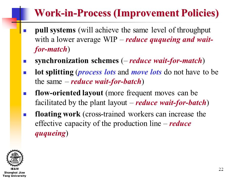 22 IE&M Shanghai Jiao Tong University Work-in-Process (Improvement Policies) pull systems (will achieve the same level of throughput with a lower aver