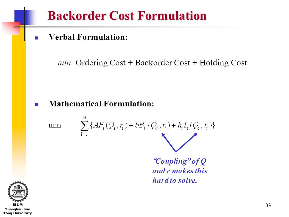 39 IE&M Shanghai Jiao Tong University Backorder Cost Formulation Verbal Formulation: min Ordering Cost + Backorder Cost + Holding Cost Mathematical Fo