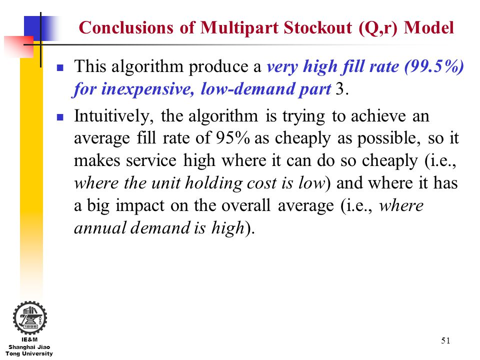 51 IE&M Shanghai Jiao Tong University Conclusions of Multipart Stockout (Q,r) Model This algorithm produce a very high fill rate (99.5%) for inexpensi