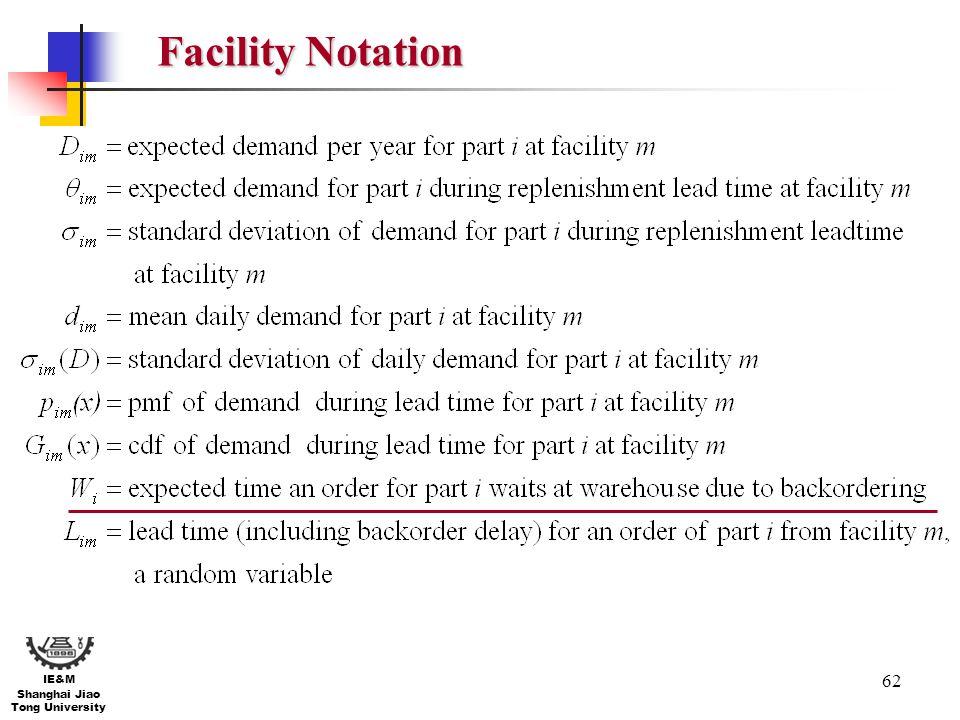 62 IE&M Shanghai Jiao Tong University Facility Notation