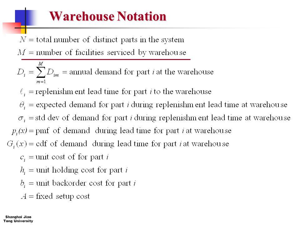 63 IE&M Shanghai Jiao Tong University Warehouse Notation