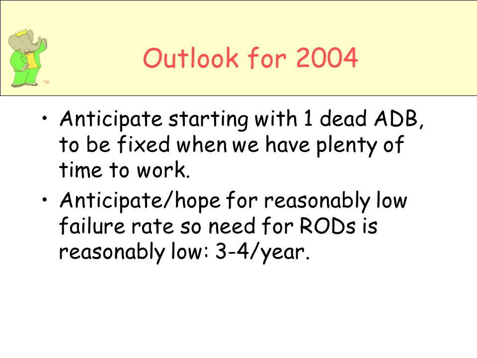 Outlook for 2004 Anticipate starting with 1 dead ADB, to be fixed when we have plenty of time to work.