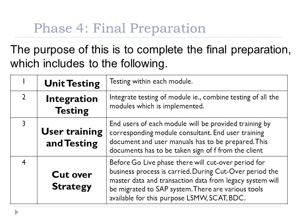 Phase 4: Final Preparation The purpose of this is to complete the final preparation, which includes to the following. 1 Unit Testing Testing within ea