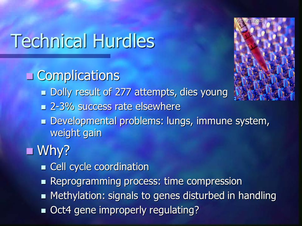 Technical Hurdles Complications Complications Dolly result of 277 attempts, dies young Dolly result of 277 attempts, dies young 2-3% success rate elsewhere 2-3% success rate elsewhere Developmental problems: lungs, immune system, weight gain Developmental problems: lungs, immune system, weight gain Why.