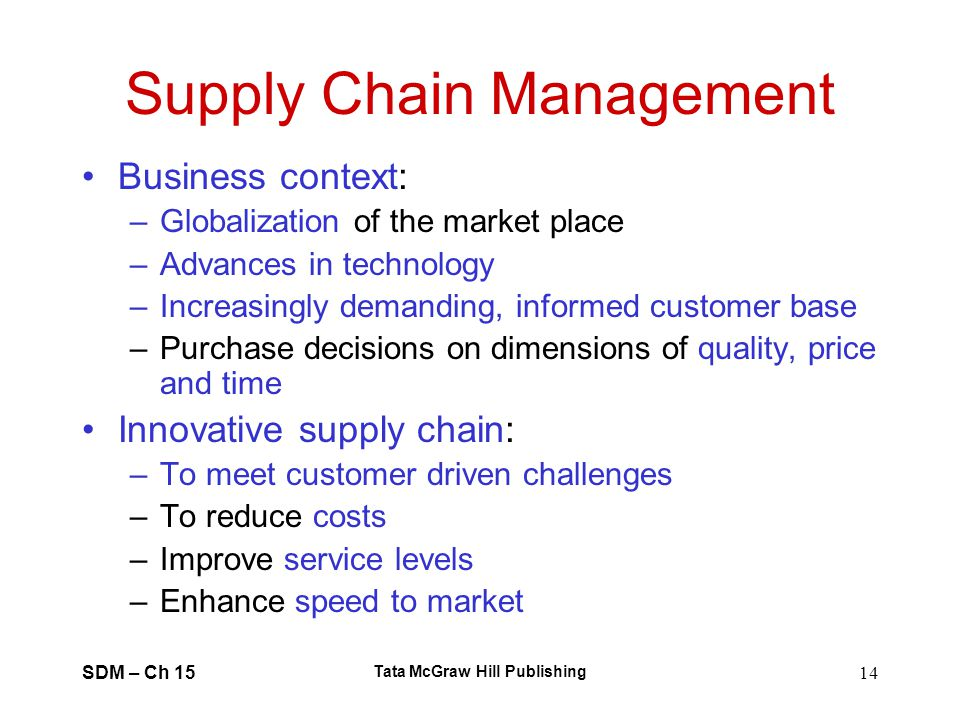 SDM – Ch 15 Tata McGraw Hill Publishing 14 Supply Chain Management Business context: –Globalization of the market place –Advances in technology –Incre