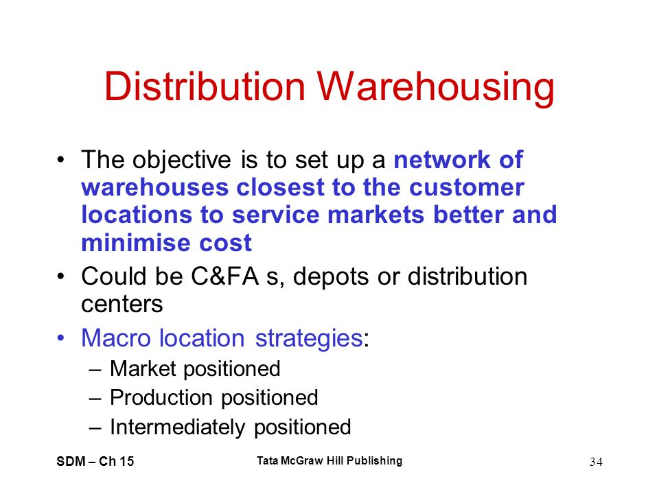SDM – Ch 15 Tata McGraw Hill Publishing 34 Distribution Warehousing The objective is to set up a network of warehouses closest to the customer locatio