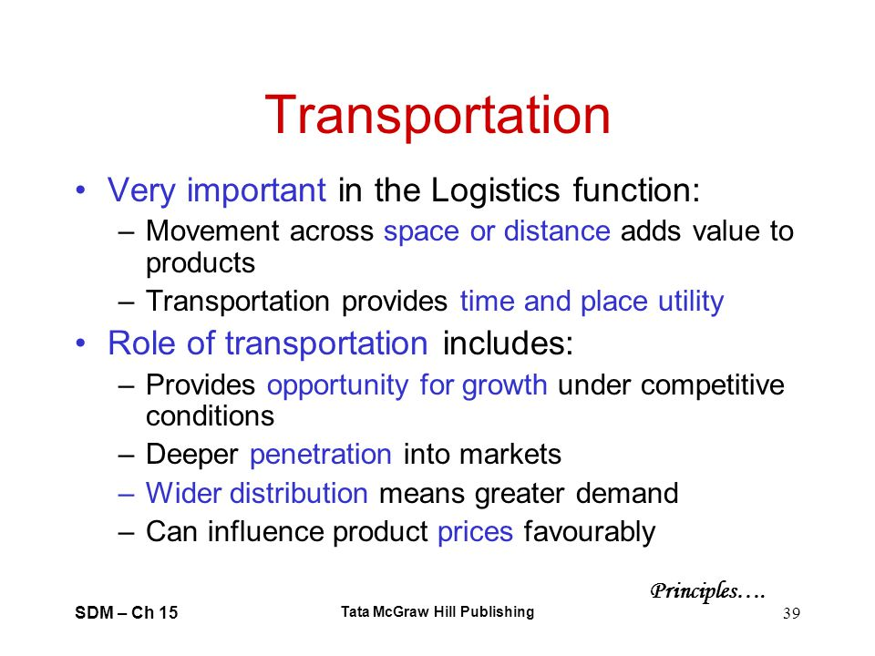 SDM – Ch 15 Tata McGraw Hill Publishing 39 Transportation Very important in the Logistics function: –Movement across space or distance adds value to p