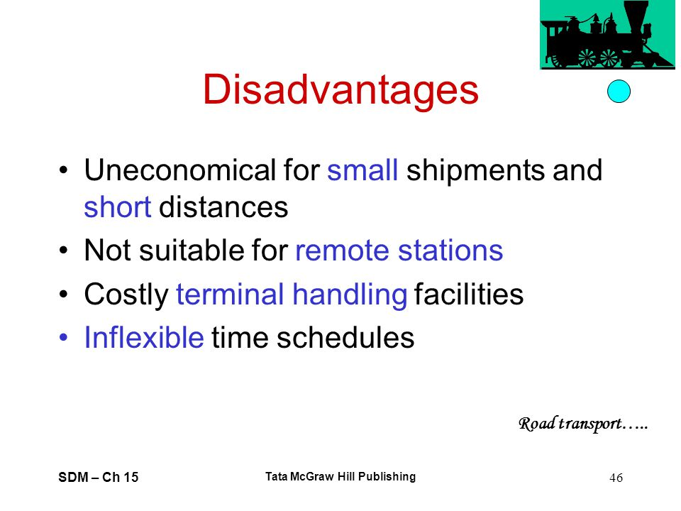 SDM – Ch 15 Tata McGraw Hill Publishing 46 Disadvantages Uneconomical for small shipments and short distances Not suitable for remote stations Costly