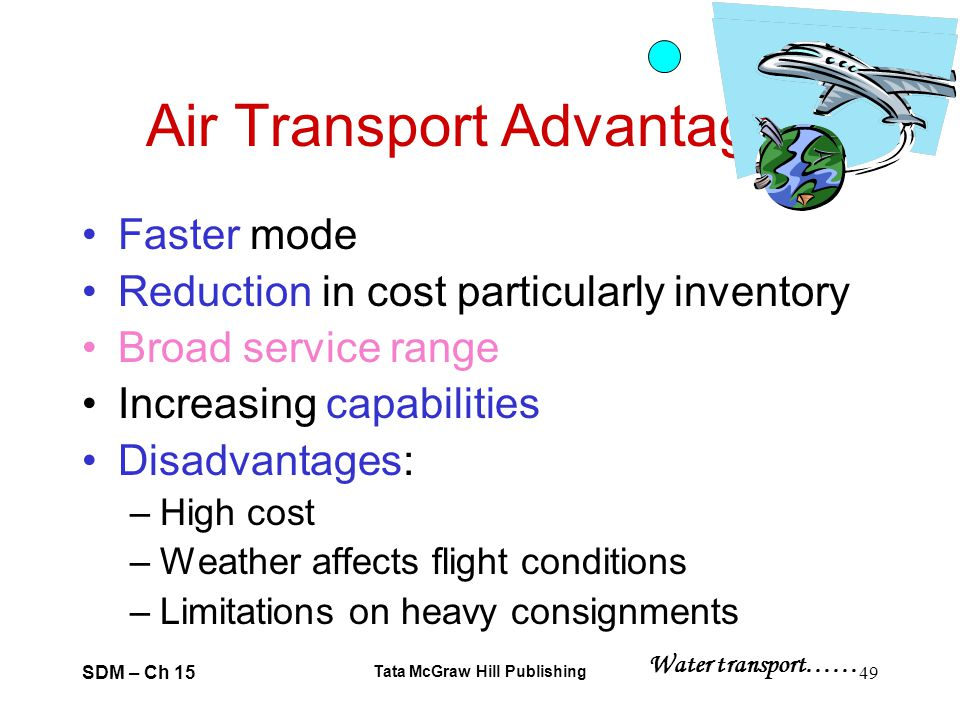 SDM – Ch 15 Tata McGraw Hill Publishing 49 Air Transport Advantages Faster mode Reduction in cost particularly inventory Broad service range Increasin