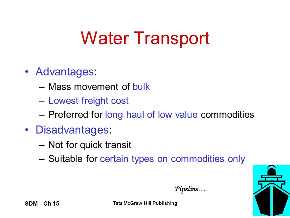 SDM – Ch 15 Tata McGraw Hill Publishing 50 Water Transport Advantages: –Mass movement of bulk –Lowest freight cost –Preferred for long haul of low val