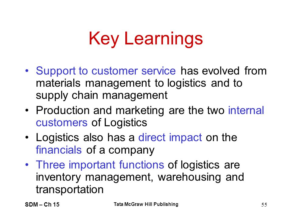 SDM – Ch 15 Tata McGraw Hill Publishing 55 Key Learnings Support to customer service has evolved from materials management to logistics and to supply