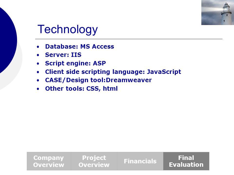 Technology Database: MS Access Server: IIS Script engine: ASP Client side scripting language: JavaScript CASE/Design tool:Dreamweaver Other tools: CSS