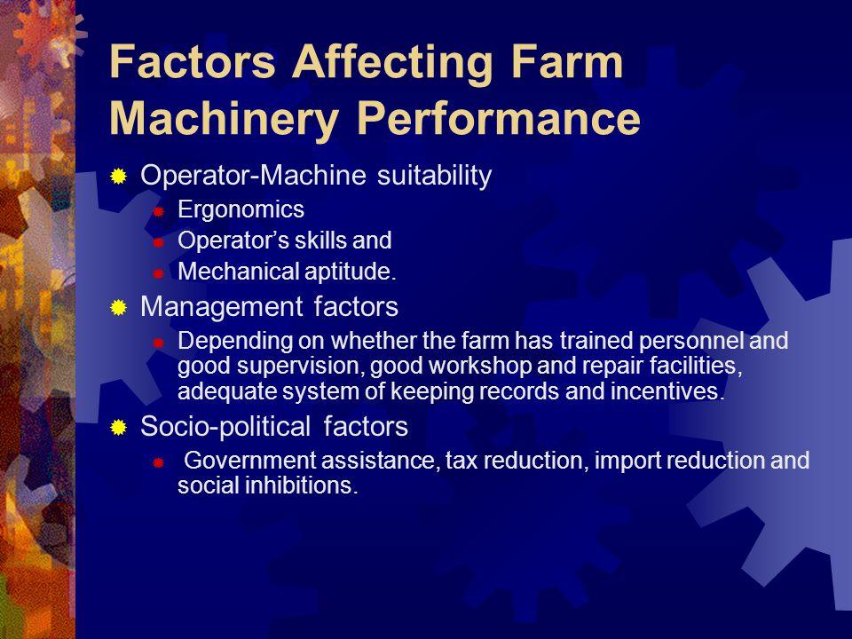 Factors Affecting Farm Machinery Performance Operator-Machine suitability Ergonomics Operators skills and Mechanical aptitude. Management factors Depe