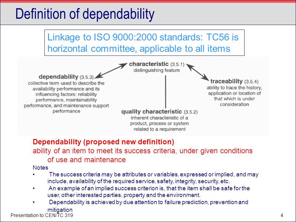 Presentation to CEN/TC 3194 Definition of dependability Dependability (proposed new definition) ability of an item to meet its success criteria, under