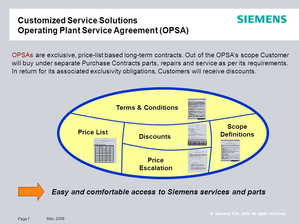 Page 7 May, 2009 © Siemens SSK. 2009. All rights reserved. Customized Service Solutions Operating Plant Service Agreement (OPSA) OPSAs are exclusive,