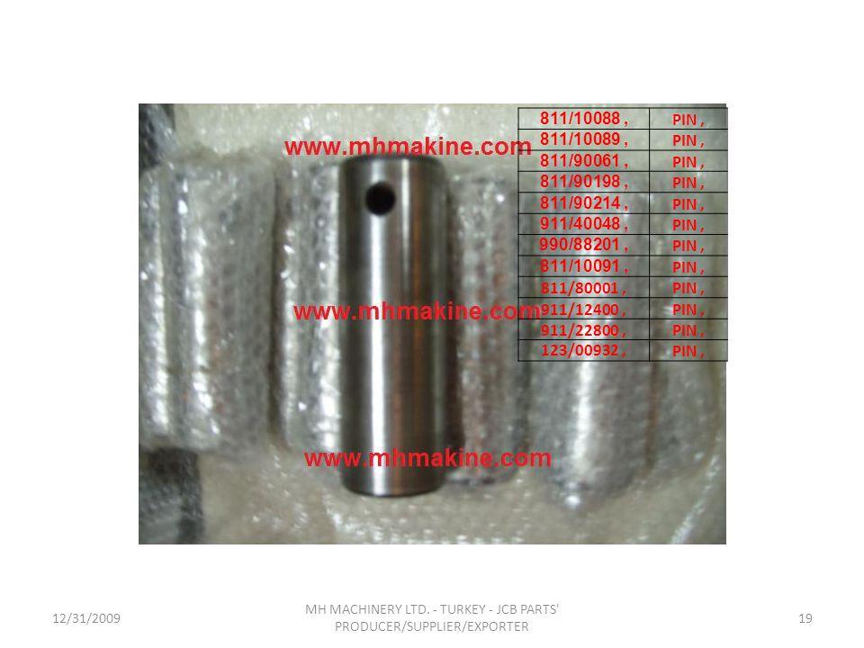 12/31/200919 MH MACHINERY LTD. - TURKEY - JCB PARTS' PRODUCER/SUPPLIER/EXPORTER 811/10088, PIN, 811/10089, PIN, 811/90061, PIN, 811/90198, PIN, 811/90