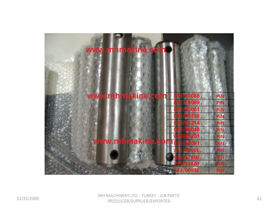 12/31/200922 MH MACHINERY LTD. - TURKEY - JCB PARTS' PRODUCER/SUPPLIER/EXPORTER 811/10088, PIN, 811/10089, PIN, 811/90061, PIN, 811/90198, PIN, 811/90