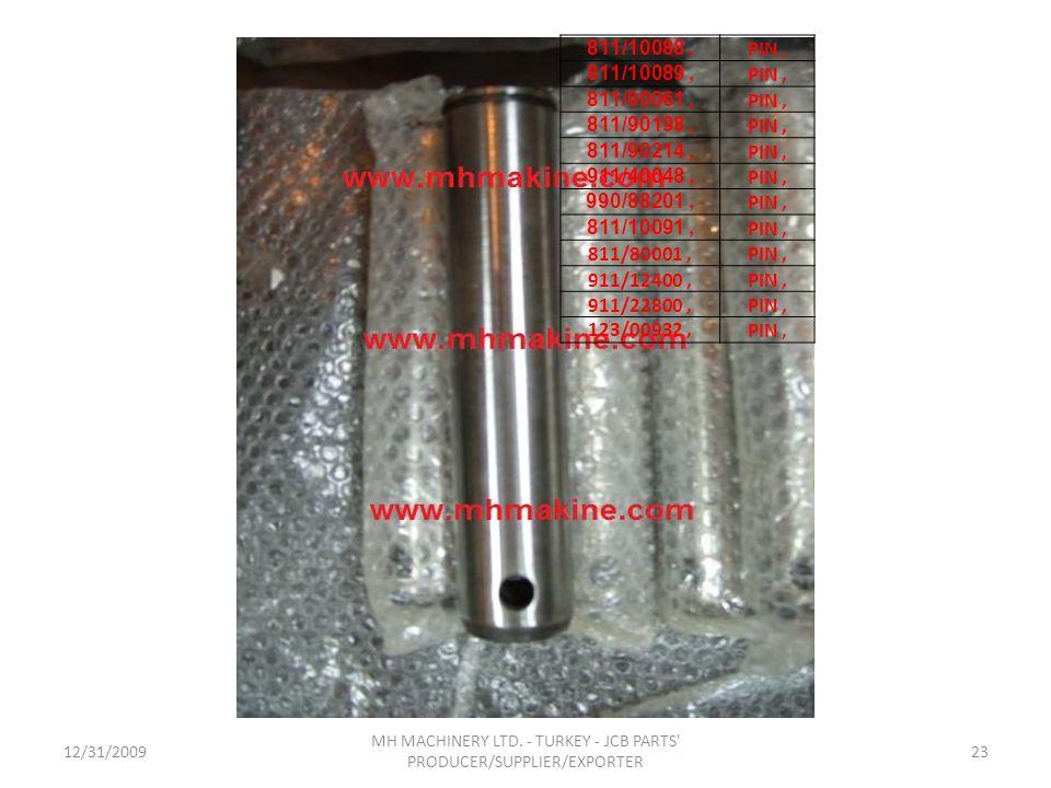 12/31/200923 MH MACHINERY LTD. - TURKEY - JCB PARTS' PRODUCER/SUPPLIER/EXPORTER 811/10088, PIN, 811/10089, PIN, 811/90061, PIN, 811/90198, PIN, 811/90