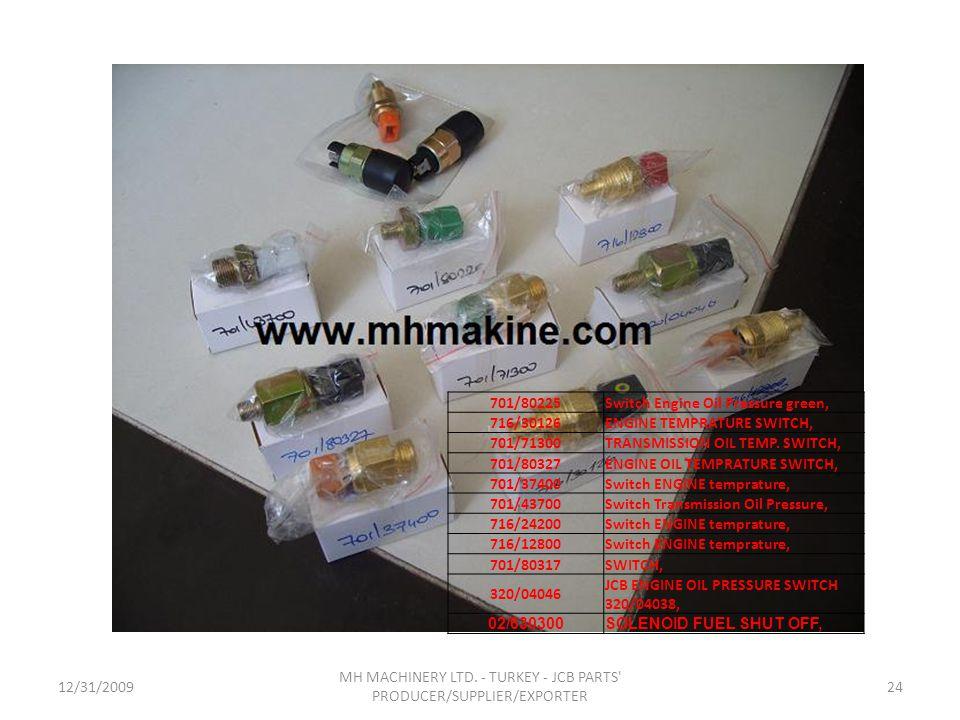 12/31/200924 MH MACHINERY LTD. - TURKEY - JCB PARTS' PRODUCER/SUPPLIER/EXPORTER 701/80225Switch Engine Oil Pressure green, 716/30126ENGINE TEMPRATURE