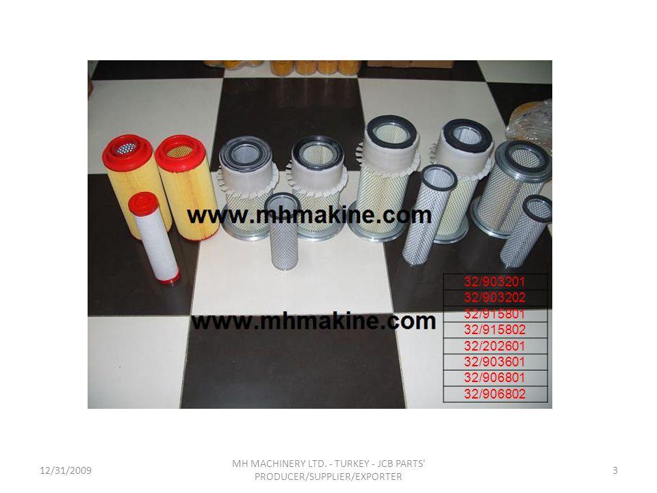 12/31/20093 MH MACHINERY LTD. - TURKEY - JCB PARTS' PRODUCER/SUPPLIER/EXPORTER 32/903201 32/903202 32/915801 32/915802 32/202601 32/903601 32/906801 3