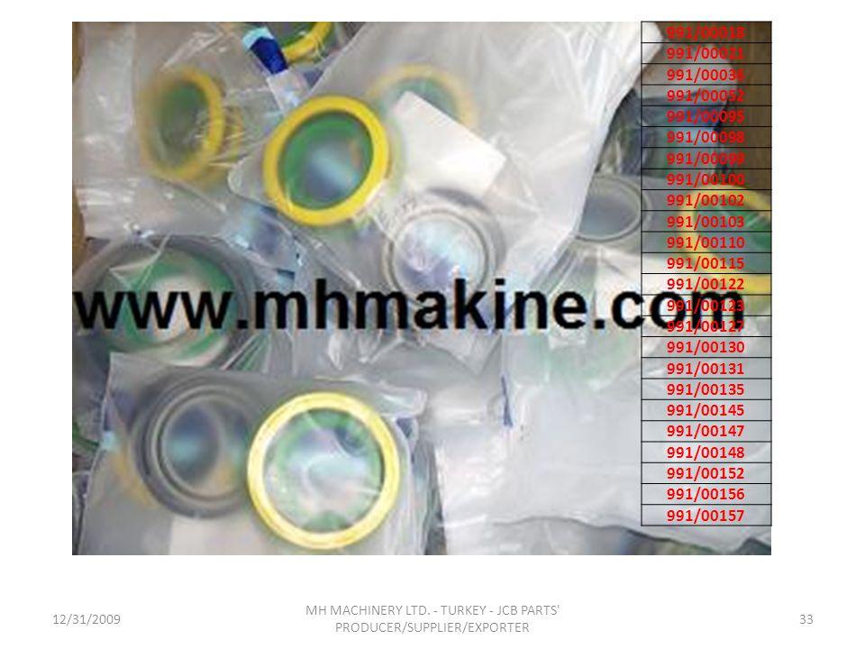 12/31/200933 MH MACHINERY LTD. - TURKEY - JCB PARTS' PRODUCER/SUPPLIER/EXPORTER 991/00018 991/00021 991/00036 991/00052 991/00095 991/00098 991/00099