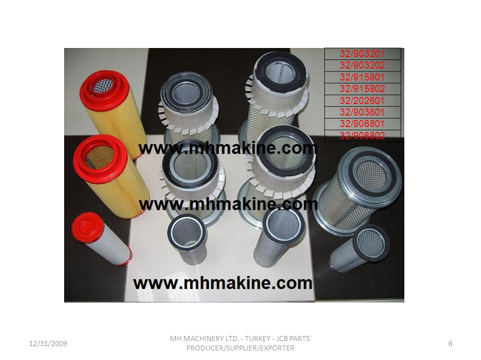 12/31/20096 MH MACHINERY LTD. - TURKEY - JCB PARTS' PRODUCER/SUPPLIER/EXPORTER 32/903201 32/903202 32/915801 32/915802 32/202601 32/903601 32/906801 3