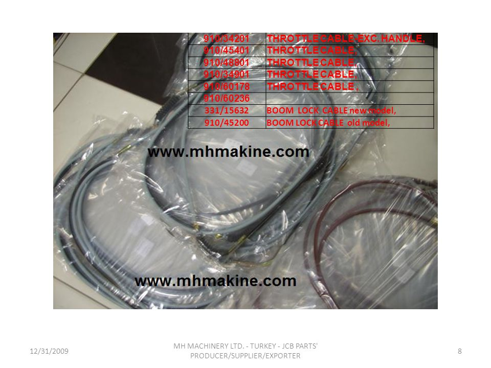 12/31/20098 MH MACHINERY LTD. - TURKEY - JCB PARTS' PRODUCER/SUPPLIER/EXPORTER 910/34201THROTTLE CABLE-EXC. HANDLE, 910/45401THROTTLE CABLE, 910/48801