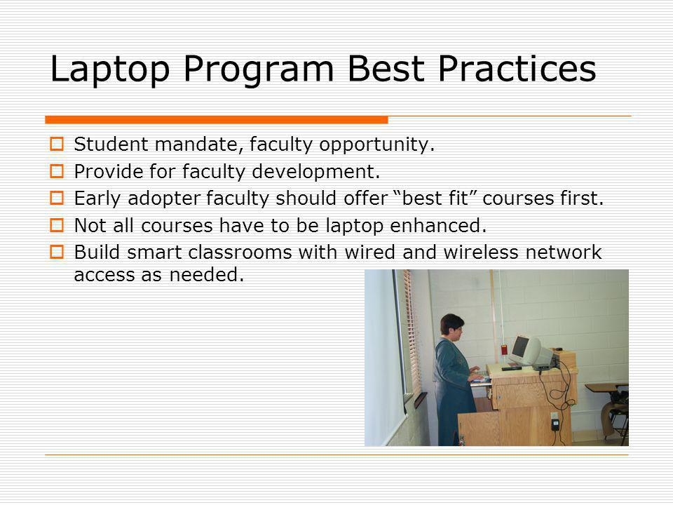Laptop Program Best Practices Student mandate, faculty opportunity.