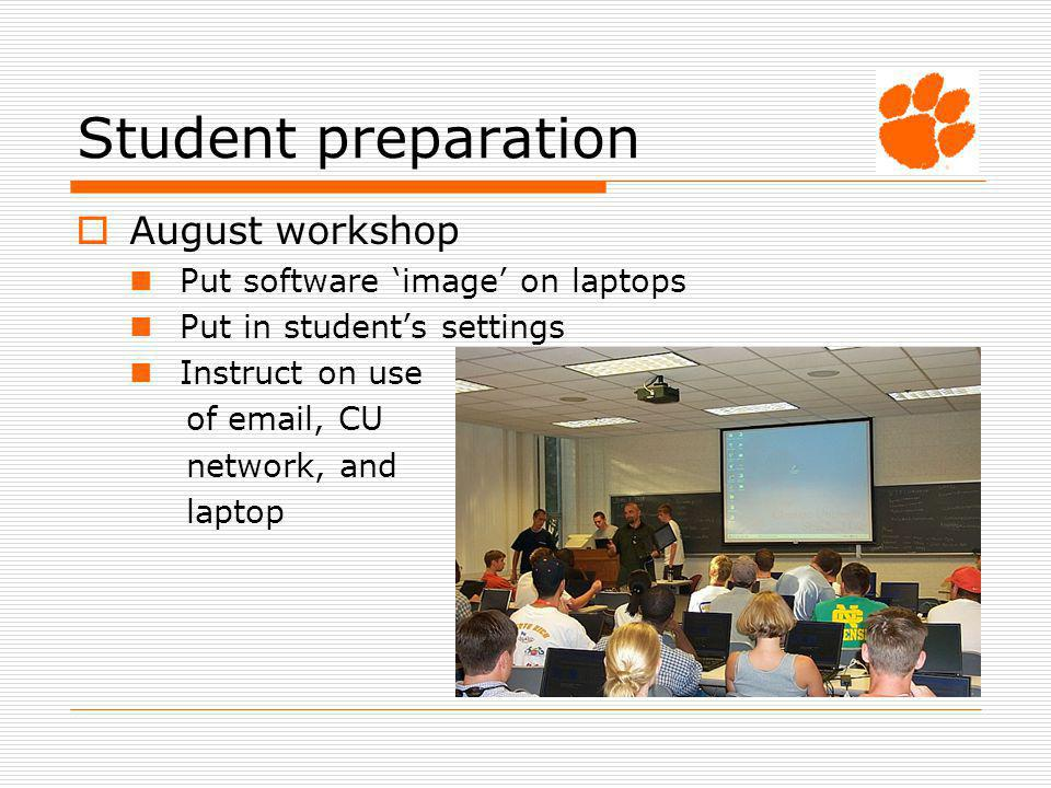 Student preparation August workshop Put software image on laptops Put in students settings Instruct on use of email, CU network, and laptop