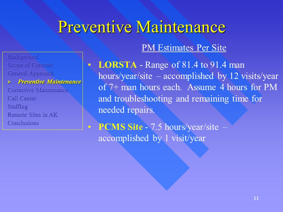 11 Preventive Maintenance PM Estimates Per Site LORSTA - Range of 81.4 to 91.4 man hours/year/site – accomplished by 12 visits/year of 7+ man hours each.