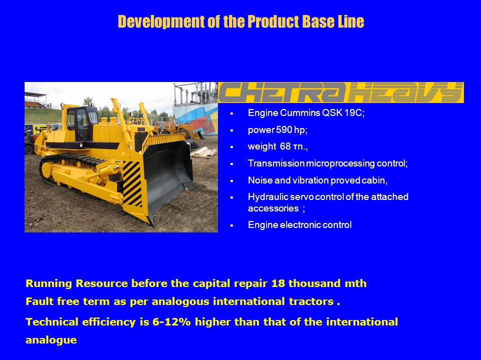 Running Resource before the capital repair 18 thousand mth Fault free term as per analogous international tractors. Technical efficiency is 6-12% high