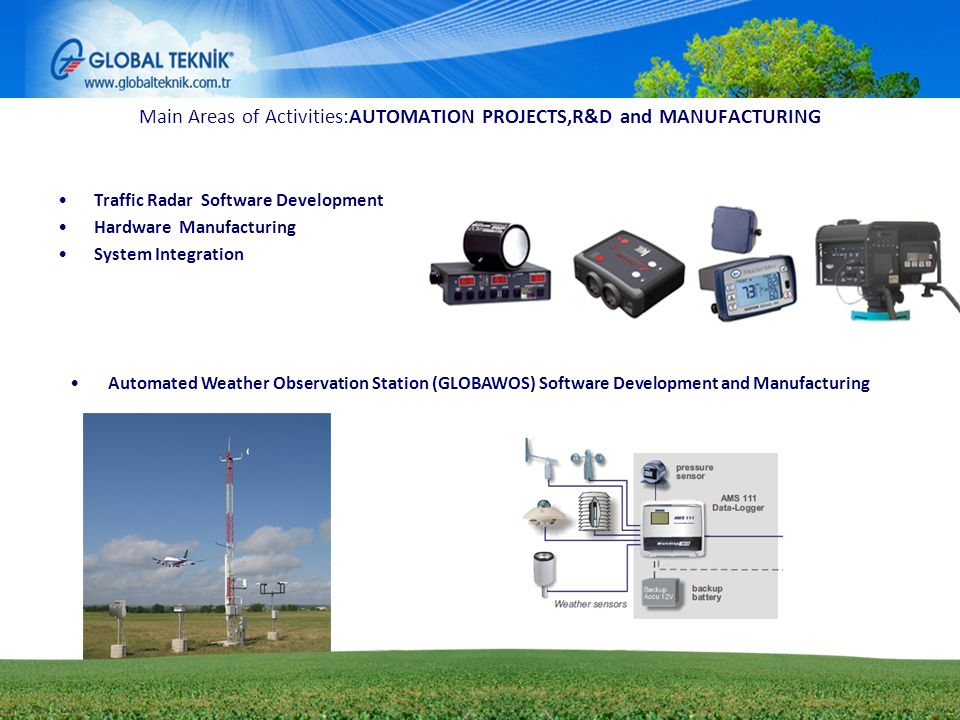 01.06.20146 Main Areas of Activities:AUTOMATION PROJECTS,R&D and MANUFACTURING Traffic Radar Software Development Hardware Manufacturing System Integr
