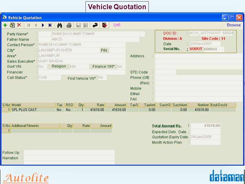 Vehicle Quotation