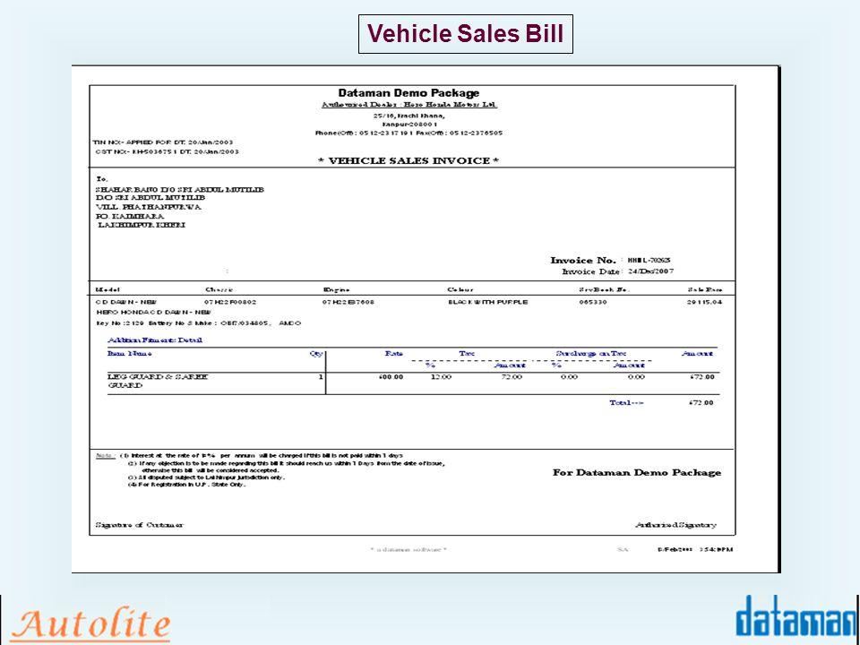 Vehicle Sales Bill