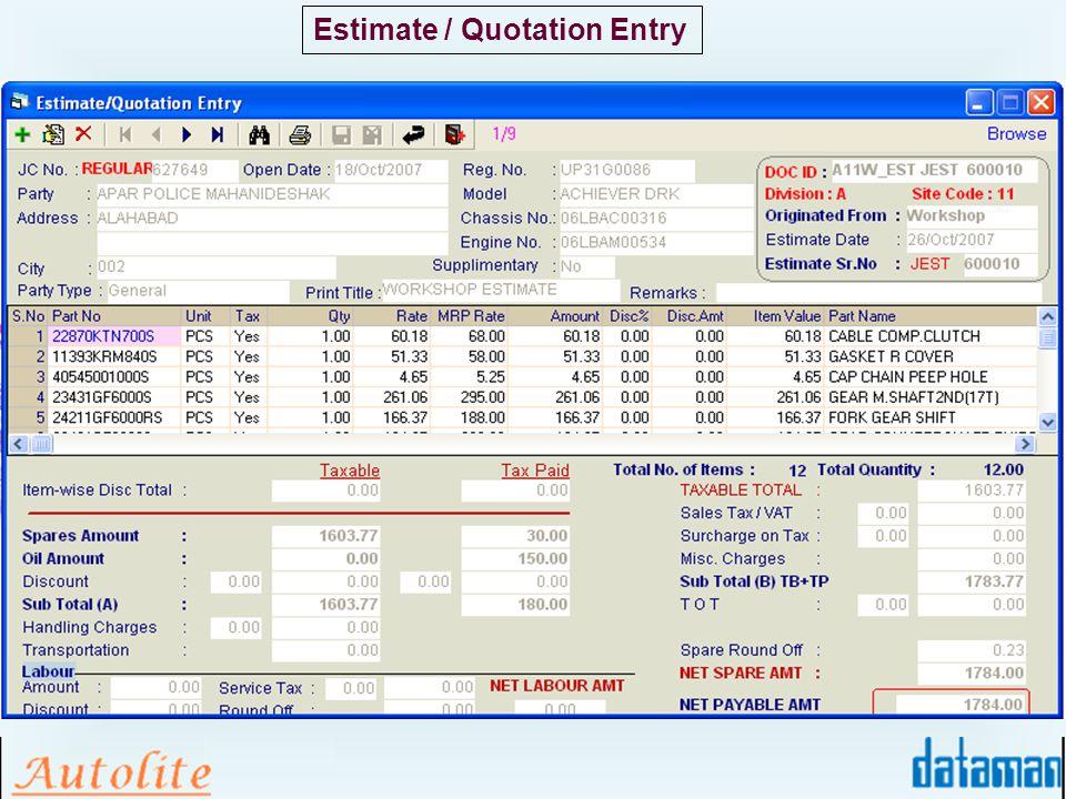 Estimate / Quotation Entry